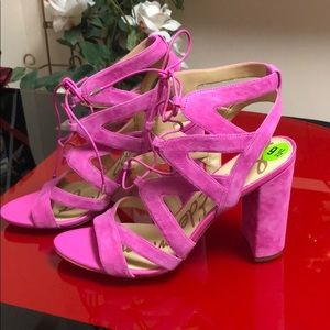 NWOT Sam Edelman Yardley Pink Lace Up Heel, 9.5